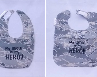 My Air Force Uncle is My Hero - Baby Bib - Small OR Large -  Free Shipping to U.S.