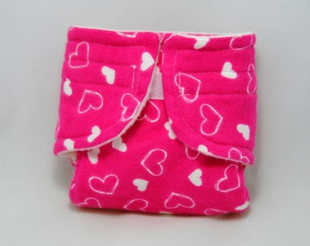 Baby Doll Diaper Little Pink Hearts - Size Large