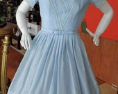 40%OFFSALE Vintage 1950's Deadstock Baby Blue VICKY VAUGHN Day Dress with original tags