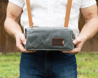 Groomsmen Gift: Personalized Dopp Kit, Expandable Toiletry Bag, Travel, Waxed Canvas  - No. 349 (Made in the USA) FREE Domestic SHIPPING