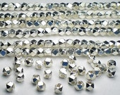 3.5mm Faceted Beads Karen Hill Tribe Nugget Beads Fine Silver 16 pcs. HT-257