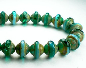 Green Emerald and Sky Blue UFO Czech Glass Beads 8x10mm 10 Pcs. UFO-654