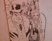 Gotham Villains Harley Quinn drawing on A6 card by Boo Rudetoons