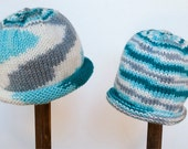 Child Adult Hat Rolled Brim Beanie Size SMALL 1 to 6 Months Color:  WINTER SKY