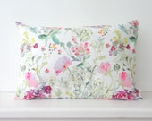 Floral Mix Watercolor Pillow Cover, Watercolor Flowers Pillow Cover, Designer Fabric Pillow Cover, Various Sizes