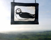 Stained Glass Panel Little Puffin - Great Gift,  Suncatcher, home decor