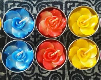 Set of 10 Unscented  Flower Votive Candles