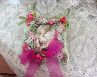 6 inch lavender scented sachet with image of Marie Antoinette