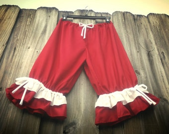 Ready to ship Free...Christmas Red bloomers with white ruffles...on sale