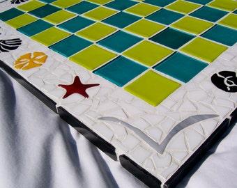 Game Board,Mosiac Art, Mosaic Cottage Chic, Mosaic Wall Art, Chess Board, Mosaic Game Board, Hand Made Game, Home Decor, Chess, Home Decor