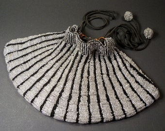 1920s Glass Bead Pouch Purse Silver and Black Drawstring Handbag Gorgeous Large