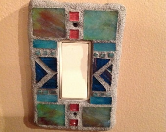 Mosaic switch plate, light switch plate, rocker switch