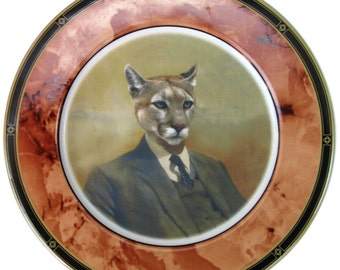 Colin the Cougar portrait Plate - Altered Vintage Plate 10.5""