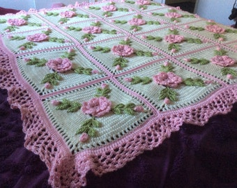 Pink Roses Afghan Blanket Throw - Made fresh after sale - 20 squares