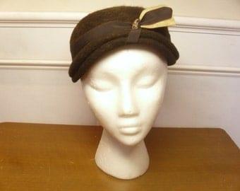 ON SALE  Vintage 1950's  Brown Wool Hat w/Adornment