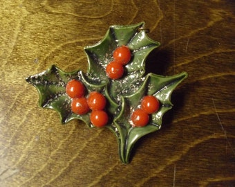 Vintage 1950's/1960's  Celluloid Holly Pin w/Religious Medal