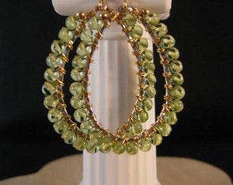 Peridot Hoop Earrings,birthstone hoop earrings,birthstone earrings,peridot earrings,gemstone hoops,gemstone earrings,gold hoops,august