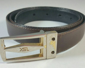 Brown Leather Belt Gold Metal Buckle Rough Condition Signed YSL