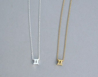 Zodiac Gemini Necklace in Silver Plated or Gold Plated
