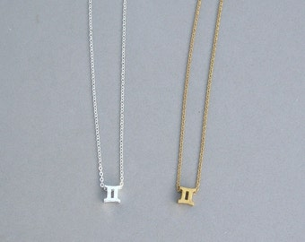 Zodiac Gemini Necklace in Silver Plated or Raw Brass