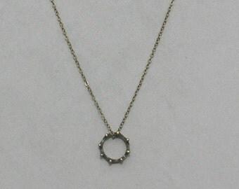 Antique Brass Crown Necklace