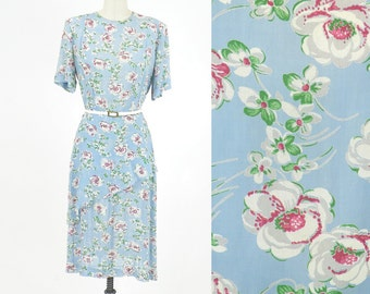 1940s Dress, Vintage 40s Dress, Floral Cabbage Rose Dress with Diagonal Peplum, Medium