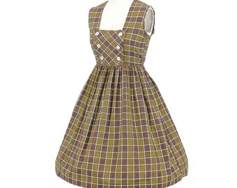 50s Dress, 1950s Day Dress, Brown & Green Check Cotton 50s Dress, Petite Small