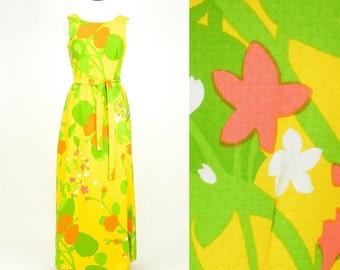 Vintage 1960s Hawaiian Floral Maxi Dress, 60s Dress, Malia Honolulu Summer Dress, Medium