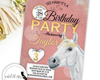 Cowgirl Birthday Party Invitation, Horse Invite, White Horse, Horseback Riding, Gold Leaf, Pink White, DIY, Printed or Printable Invitations