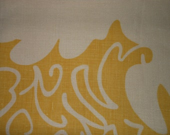 Scalamandre hand-printed bold abstract design linen fabric - sample cut