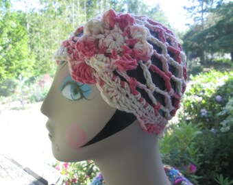 Baby Girl Flapper Hat by SuzannesStitches, Baby Girl Valentine's Hat, Pink Baby Girl Hat, Pink Girls Hat, Flowered Girls Hat, Flapper Hat