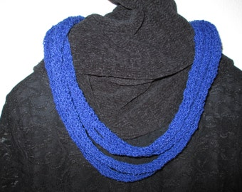 Necklace Scarf by SuzannesStitches, Multistrand Necklace, Loop Scarf, Dark Blue Scarf, Infinity Scarf, Rope Scarf, Homemade, Knit Scarf
