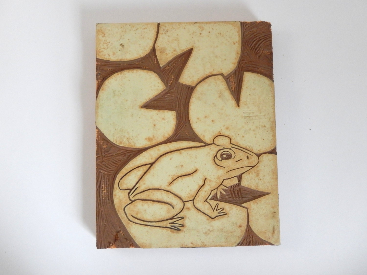Vintage frog on lillypad particle board woodcut printing block