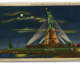 Statue of Liberty in Moonlight New York City NYC NY 1937 postcard