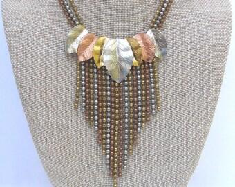 Big Bold Chunky necklace, Statement Tassel Tassle Necklace, Mixed Metal Leaf Necklace, Vintage 1940s Necklace
