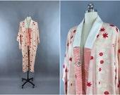 Vintage 1940s Silk Kimono Robe / Silk Robe / 40s Wedding Dressing Gown Lingerie / Art Deco Downton Abbey / Peach Red Floral / Japanese Juban