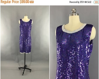 SALE - Vintage Sequin Dress / 1980s Beaded Sequined / 80s Trophy Dress Party / Joseph Le Bon / Shift Dress / Iridescent Purple / Size Medium