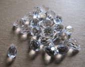 21 faceted clear,  teardrop shaped,  transparent Crystal gemstone beads