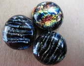 Three Uncalibrated, round, Dichroic glass cabochons, 16mm