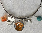 Reserve Sale ~ Double Dachshund Charm Bracelet ~ Girlfriend Gift ~ Trending Items ~ Wire Bangle ~ Dachshund Jewelry ~ August Birthday
