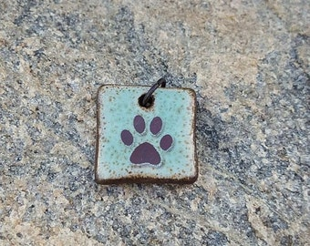 Paw print charm HANDMADE ceramic pendant bead green blue brown Dog Paw Cat Paw Boho Charm Pet Lover Gift