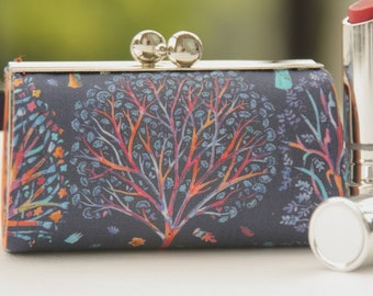 Lipstick Case/ Lipbalm case/ silver metal frame/ Liberty tana lawn/The Artist's Tree /spring 2016 collection