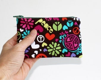 Small Zipper Pouch with Peace Signs, Hearts and Flowers