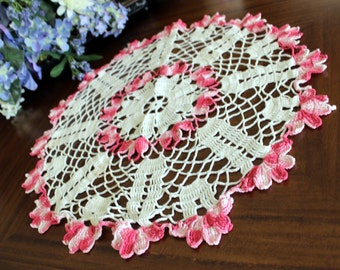 Large Doily, Pink Hand Crocheted Centerpiece, Crochet Table Linens 13607