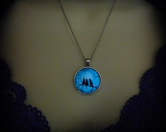 Glow in the Dark Cat Full Moon Necklace Pendant, Silver