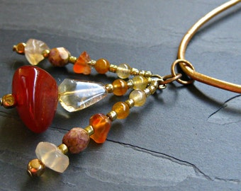 Carnelian, Citrine & Peruvian Brown Opal Tassel Necklace