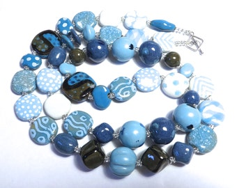 Kazuri Necklace in Shades of Blue and Khaki, Statement Necklace, Kazuri Bead Necklace, Fair Trade