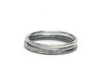 Hammered Silver Rings - set of three