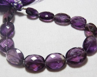8 inches - Truly Gorgeous Quality - Natural Dark Purple Color - AMETHYST - Faceted Oval Briollettes size - 13 - 17 mm Long approx