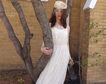 70s Ivory Lace Dress Hankey Hem Wedding Bridal Formal Sheer Boho 1970s Vintage S